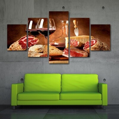 Red Wine And Meat - 5 Panel Canvas Print Wall Art Set