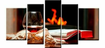 Red Wine Books - 5 Panel Canvas Print Wall Art Set