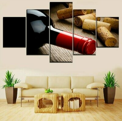 Red Wine Bottle And Lid - 5 Panel Canvas Print Wall Art Set
