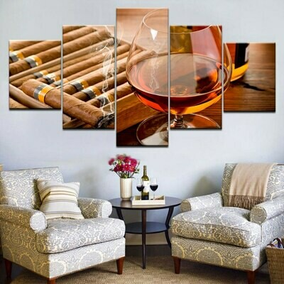 Red Wine Cigar Cup - 5 Panel Canvas Print Wall Art Set