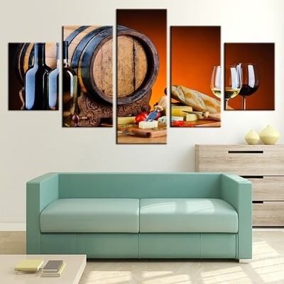 Red Wine Glasses Oak - 5 Panel Canvas Print Wall Art Set