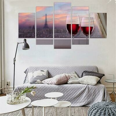 Red Wine Eiffel Tower - 5 Panel Canvas Print Wall Art Set