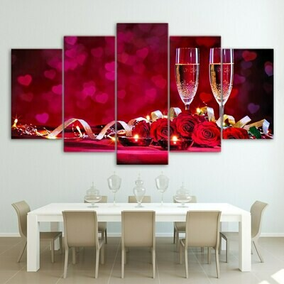 Romantic Dinner Red Roses Wine - 5 Panel Canvas Print Wall Art Set