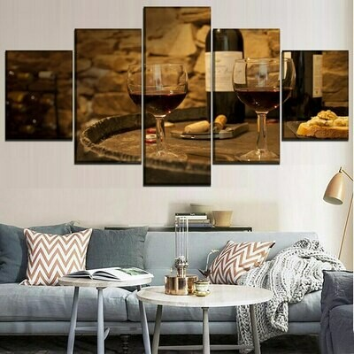 Vintage Wine Glasses - 5 Panel Canvas Print Wall Art Set