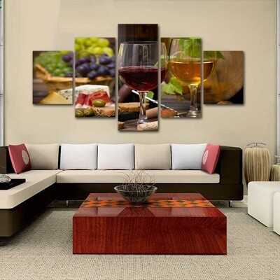 White Wine Racks - 5 Panel Canvas Print Wall Art Set