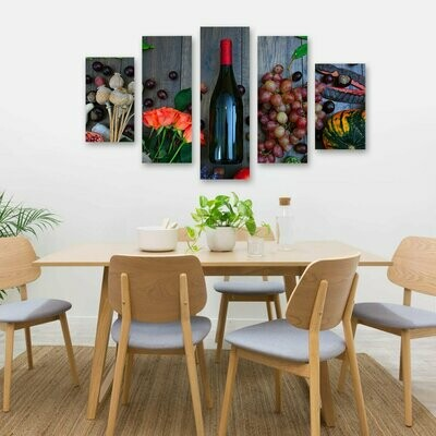 Wine And Flowers - 5 Panel Canvas Print Wall Art Set