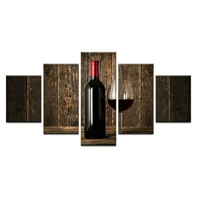 Red Wine Modular - 5 Panel Canvas Print Wall Art Set
