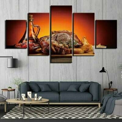 Roast Meat Wine - 5 Panel Canvas Print Wall Art Set