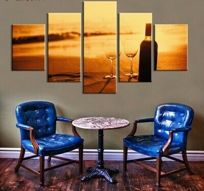 White Wine At Beach - 5 Panel Canvas Print Wall Art Set