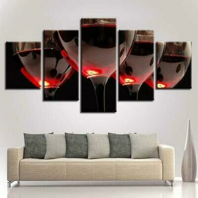 Wine Abstract - 5 Panel Canvas Print Wall Art Set