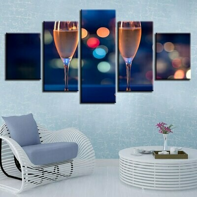 Wine Cup Street View - 5 Panel Canvas Print Wall Art Set