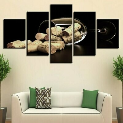 Wine Cups And Corks - 5 Panel Canvas Print Wall Art Set