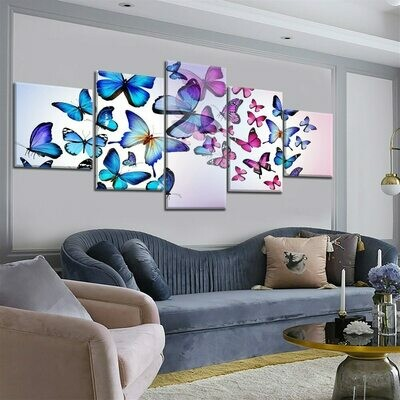 Colorful Group Of Butterflies - 5 Panel Canvas Print Wall Art Set
