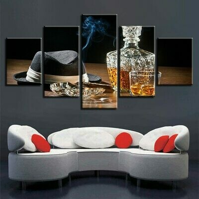 Smoke Wine And Hat - 5 Panel Canvas Print Wall Art Set