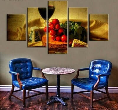 Vegetable And Wine - 5 Panel Canvas Print Wall Art Set