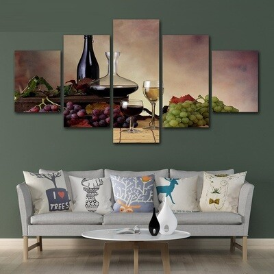 White Wine Cooler Grapes - 5 Panel Canvas Print Wall Art Set