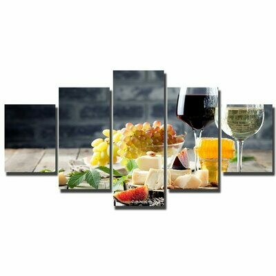 Wine And Fruit Party - 5 Panel Canvas Print Wall Art Set
