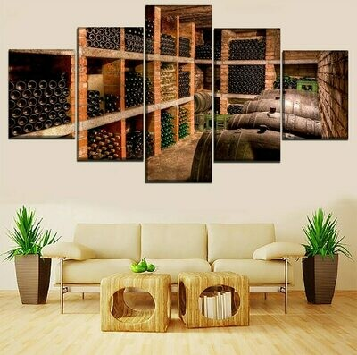 Wine Cellar - 5 Panel Canvas Print Wall Art Set