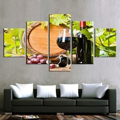 Wine Glasses Oak Cork Bottle - 5 Panel Canvas Print Wall Art Set