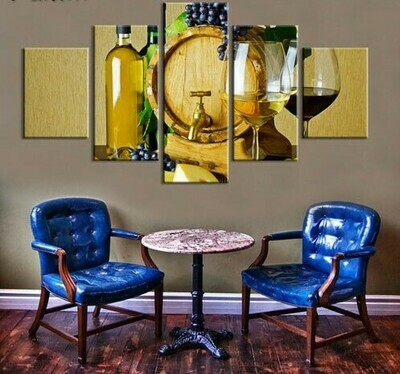 Wine And Oak Barrel - 5 Panel Canvas Print Wall Art Set