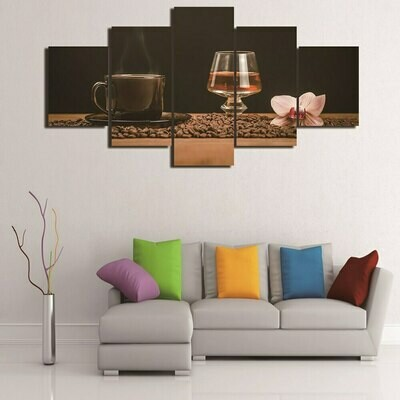 Wine Coffee Beans - 5 Panel Canvas Print Wall Art Set