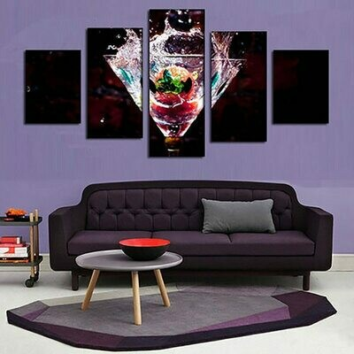 Wine Fruit - 5 Panel Canvas Print Wall Art Set