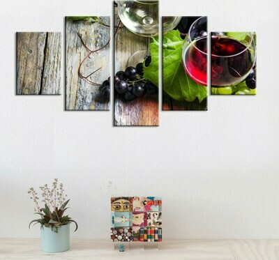 Wine Grape On Table - 5 Panel Canvas Print Wall Art Set
