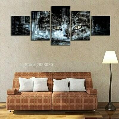 Abstract Cat - 5 Panel Canvas Print Wall Art Set