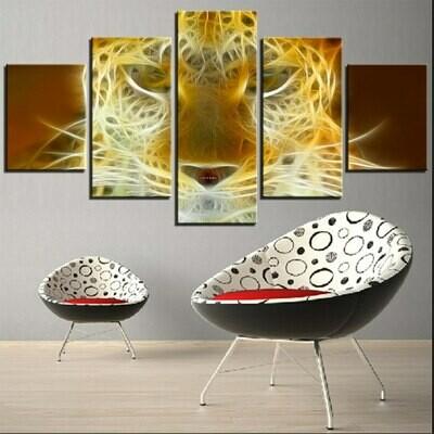 Big Cat Wallpapers - 5 Panel Canvas Print Wall Art Set