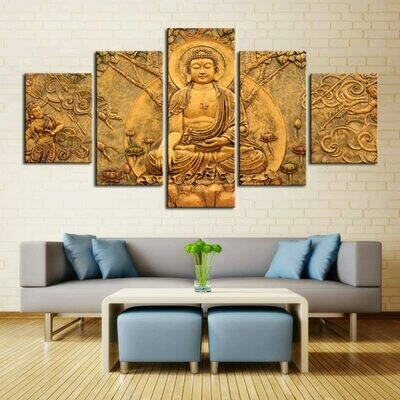Abstract Printed Buddha - 5 Panel Canvas Print Wall Art Set