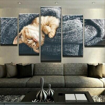 Cute Cat Modular - 5 Panel Canvas Print Wall Art Set