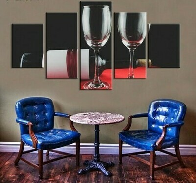 Wine Glasses And Bottle - 5 Panel Canvas Print Wall Art Set