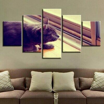 Animal Cat - 5 Panel Canvas Print Wall Art Set