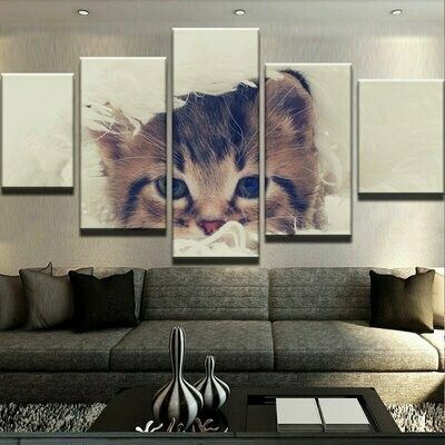 Animal Cute Cat Modular - 5 Panel Canvas Print Wall Art Set