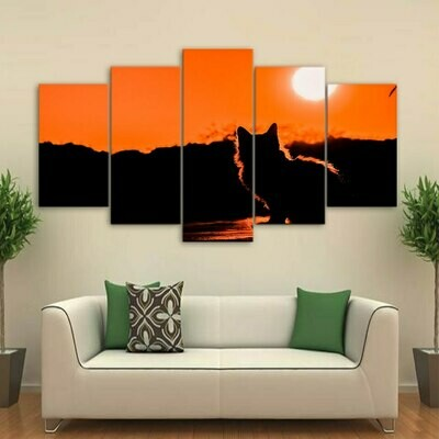 Cat Mountain Sunse - 5 Panel Canvas Print Wall Art Set