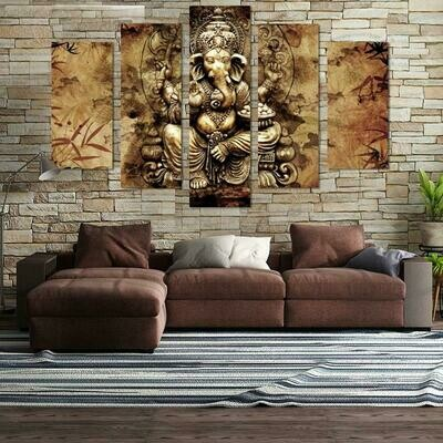 Abstract Lord Ganesh - 5 Panel Canvas Print Wall Art Set