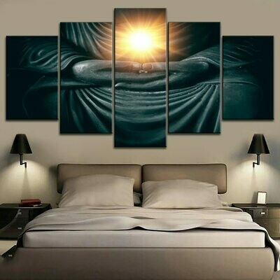 Ancient Buddha Hands - 5 Panel Canvas Print Wall Art Set
