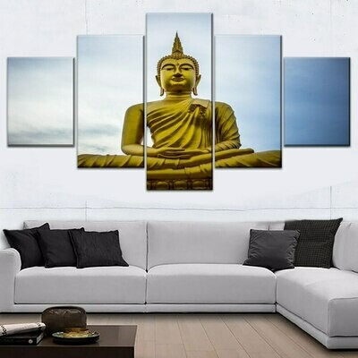 Asian Gold Buddha - 5 Panel Canvas Print Wall Art Set