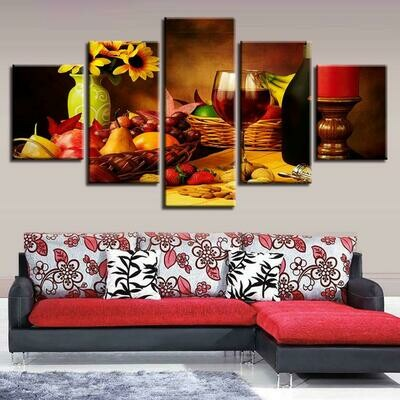 Wine Fruit And Sunflower - 5 Panel Canvas Print Wall Art Set
