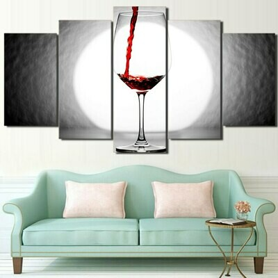 Wine Glass Pouring - 5 Panel Canvas Print Wall Art Set