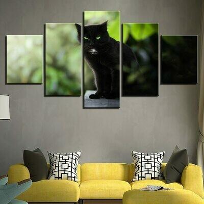 Black Cats Green Eyes - 5 Panel Canvas Print Wall Art Set