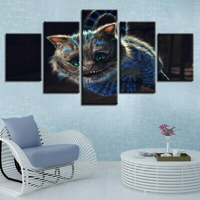 Very Lovely Cats Animal - 5 Panel Canvas Print Wall Art Set