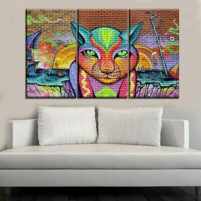 Colorful Strange Cat - 5 Panel Canvas Print Wall Art Set