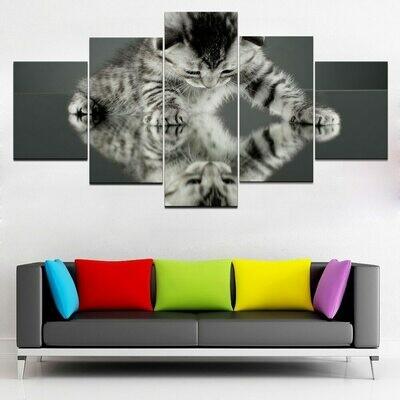 Cute Cat Animal - 5 Panel Canvas Print Wall Art Set