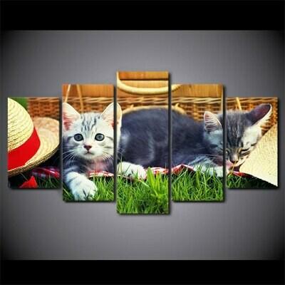 Cute Cats On Grass - 5 Panel Canvas Print Wall Art Set