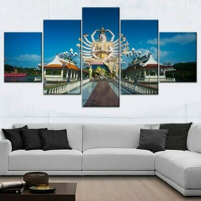 Architecture Asia Buddha - 5 Panel Canvas Print Wall Art Set