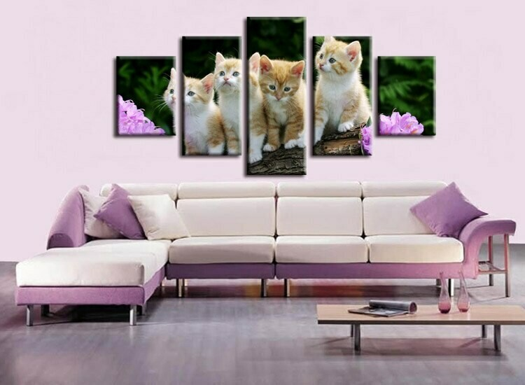 Cat Art Decorative- 5 Panel Canvas Print Wall Art Set