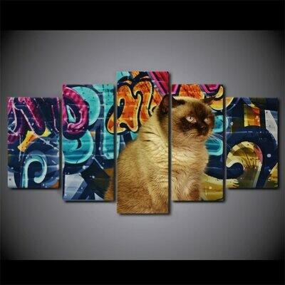 Cat Graffiti - 5 Panel Canvas Print Wall Art Set