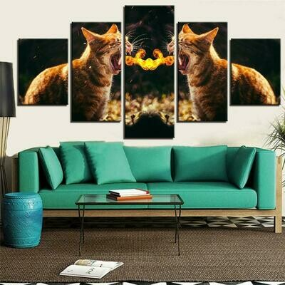 Fire Fighting Kittens - 5 Panel Canvas Print Wall Art Set