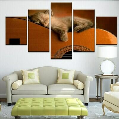 Kitten Paintings - 5 Panel Canvas Print Wall Art Set